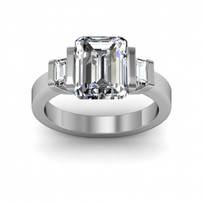 Tension Three Stone Engagement Rings