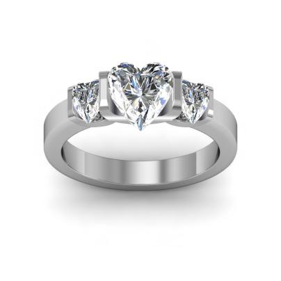 Hearts Three Stone Engagement Rings
