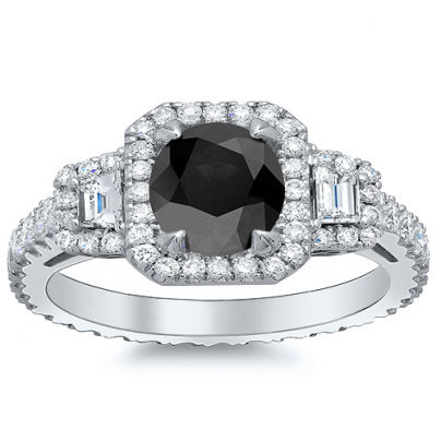 Trapezoid Accents Black Diamond Engagement Rings