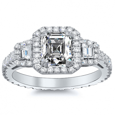 Trapezoid Accents Asscher cut Engagement Rings