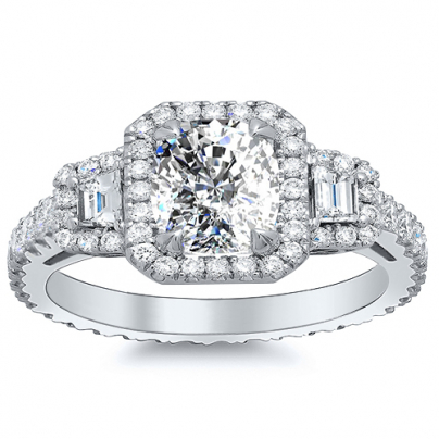 Trapezoid Accents Cushion cut Engagement Rings