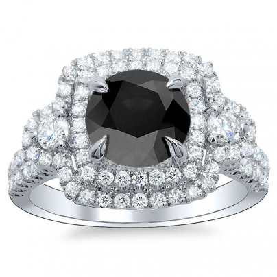 Hearts Black Diamond Engagement Rings