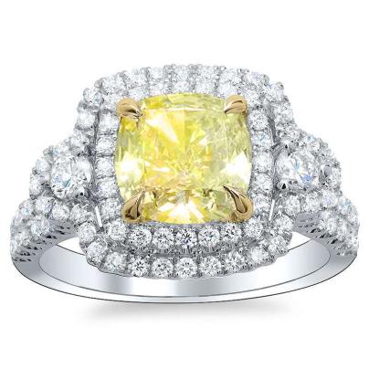 Pattern Yellow Diamond Engagement Rings