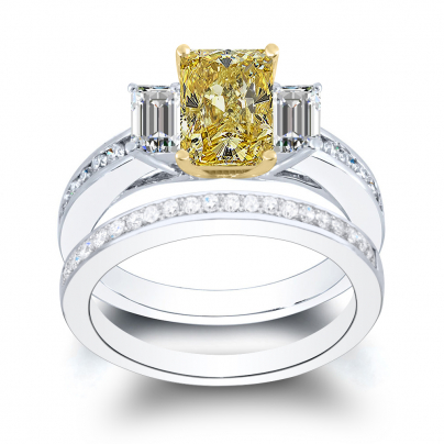 Channel Set Yellow Diamond Bridal Wedding Ring Set