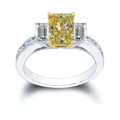 Channel Set Yellow Diamond Engagement Rings