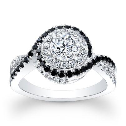 Black Accents Black Diamond Engagement Rings