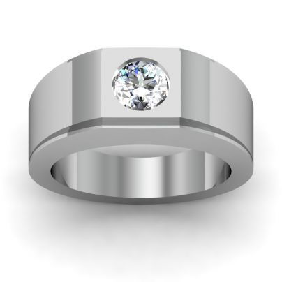 1.03ct Men's Round Cut Solitaire Natural Diamond Ring