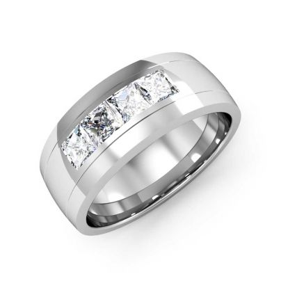 .80ct Princess Channel Signet Natural Diamond Men's Band