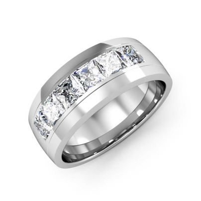 1.50ct Natural Comfort Fit Princess Diamond Men's Band