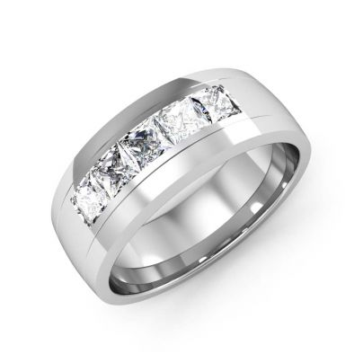 1.00ct Natural Princess Signet Channel Diamond Men's Band