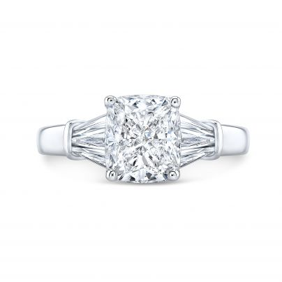 Baguette Accents White Gold Engagement Rings