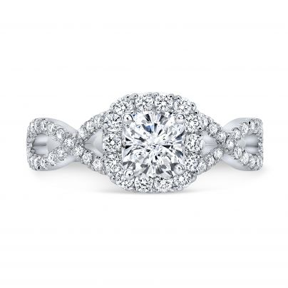 Cathedral Round cut Engagement Rings