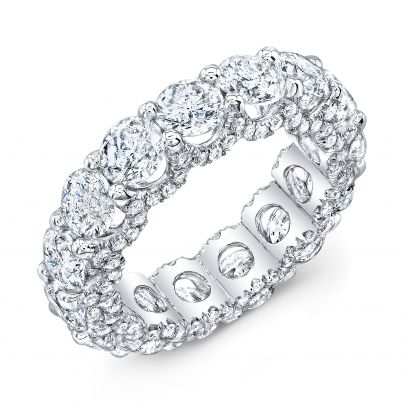 7.5 Carat U Prong Micro Pave Eternity Band GIA Certified