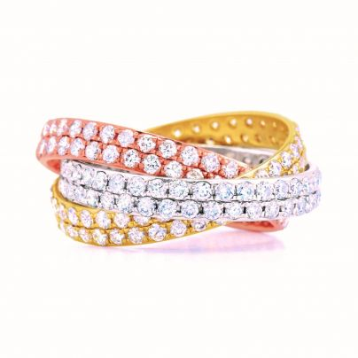 3 Carat Tri Color Rolling Pave Eternity Band