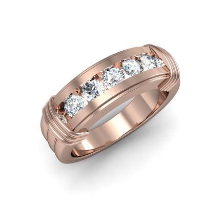 5 Stone Diamond Ring Band In Rose Gold