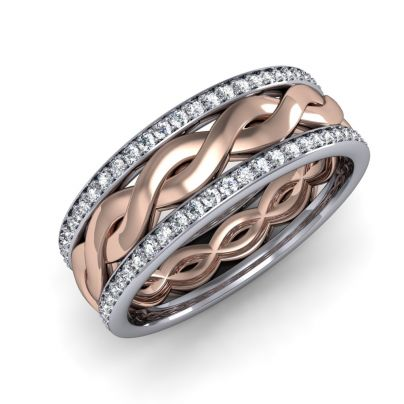 Natural Infinity Two Toned Eternity Pave Diamond Wedding Band