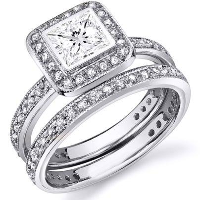 Cushion Cut Bezel Set Black Diamond Engagement Rings