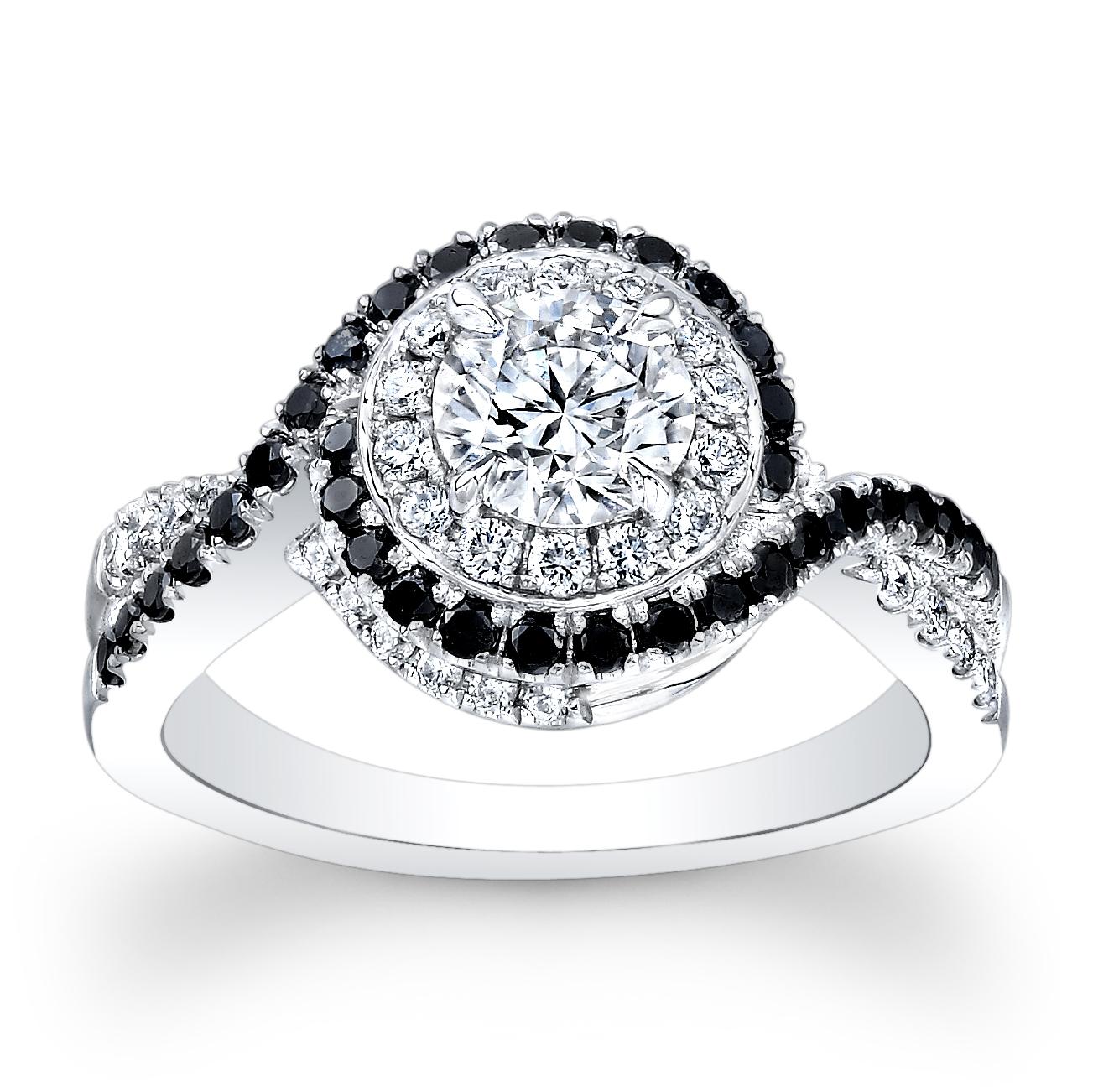 Halo Swirl Pave Natural Black Diamond Engagement Ring