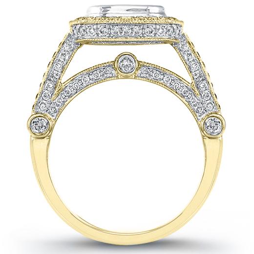 Natural Pave Halo Diamonds Bezel Set Engagement Ring