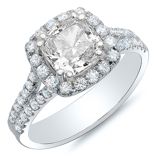 Natural Cushion Halo Pave Diamonds Engagement Ring