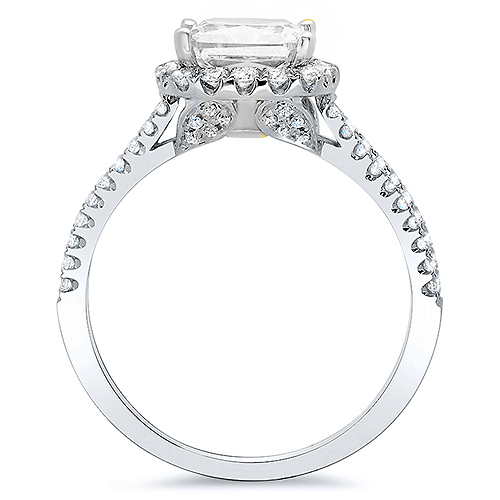 Natural Split Pave Diamonds Engagement Ring