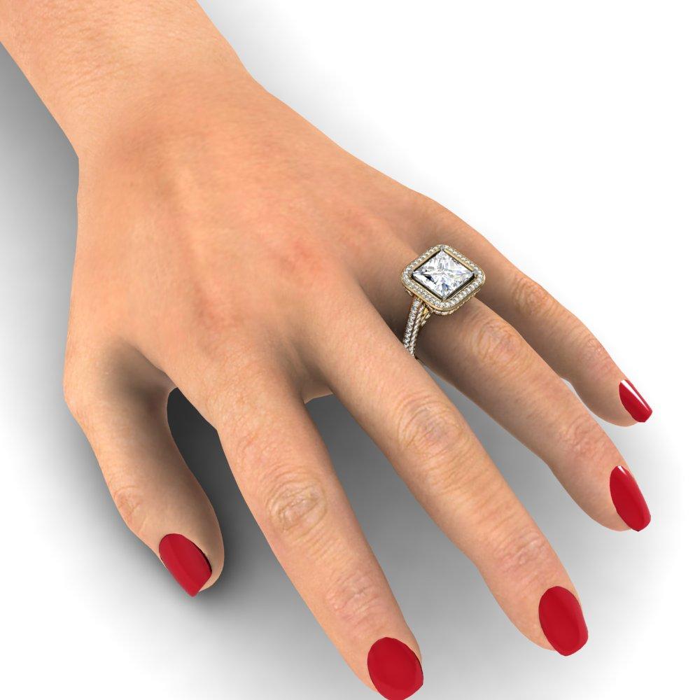 3-sided Pave Shank w/ Gem Bridge Halo Natural Diamonds Engagement Ring