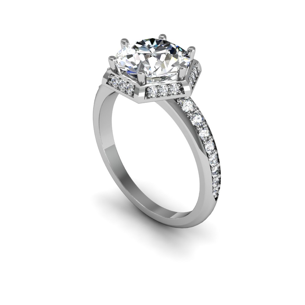 Art Deco Engagement Ring With Hexagonal Halo Setting