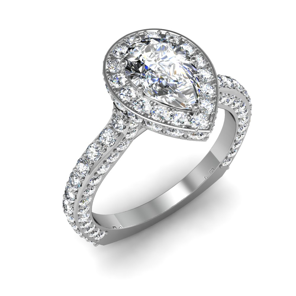 Pave Pear Shaped Halo Art Deco Engagement Rings