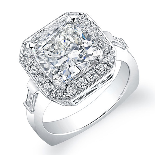 Natural Cushion Diamond Baguettes Engagement Ring