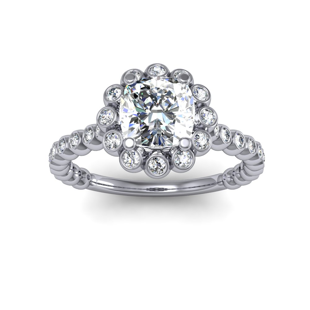 Halo Bezel Cluster Floral Diamond Engagement Ring