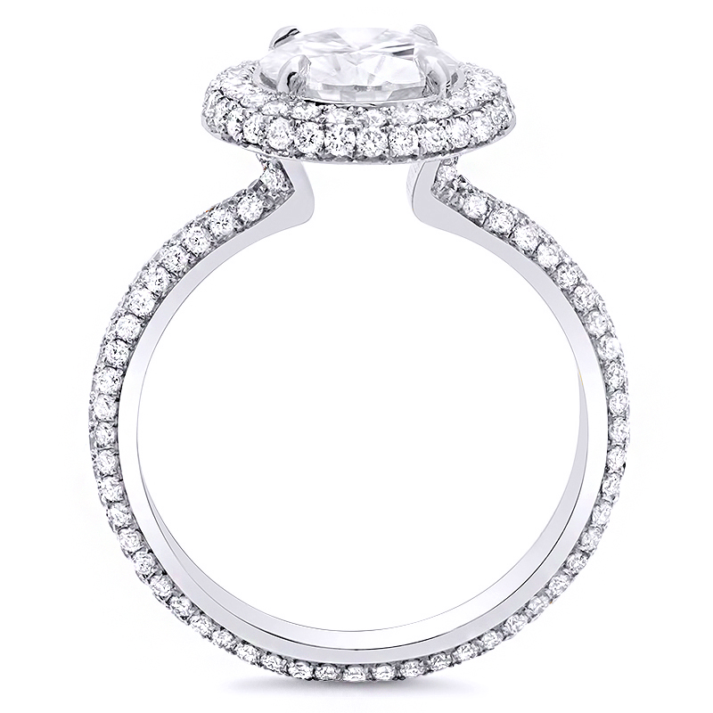 Micro pave Halo Natural Diamonds Eternity Engagement Ring Setting