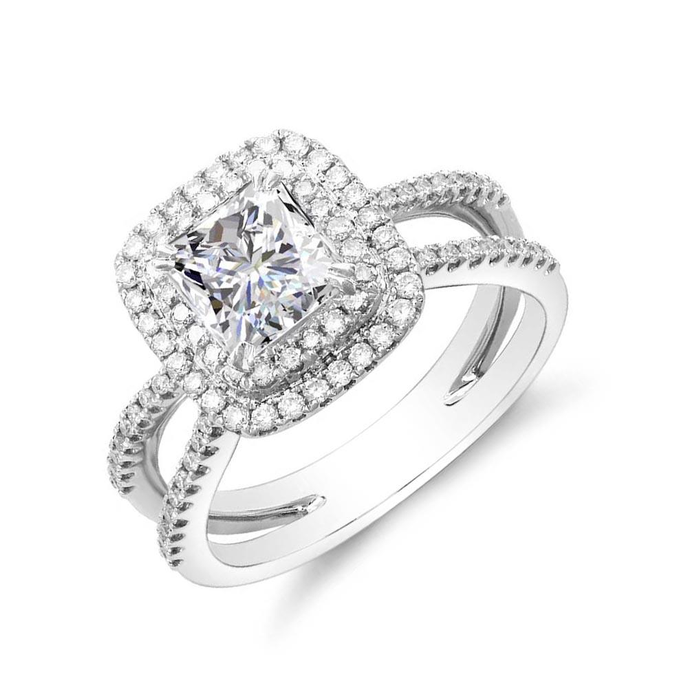 Split Shank Pave Double Halo Natural Diamonds Engagement Ring
