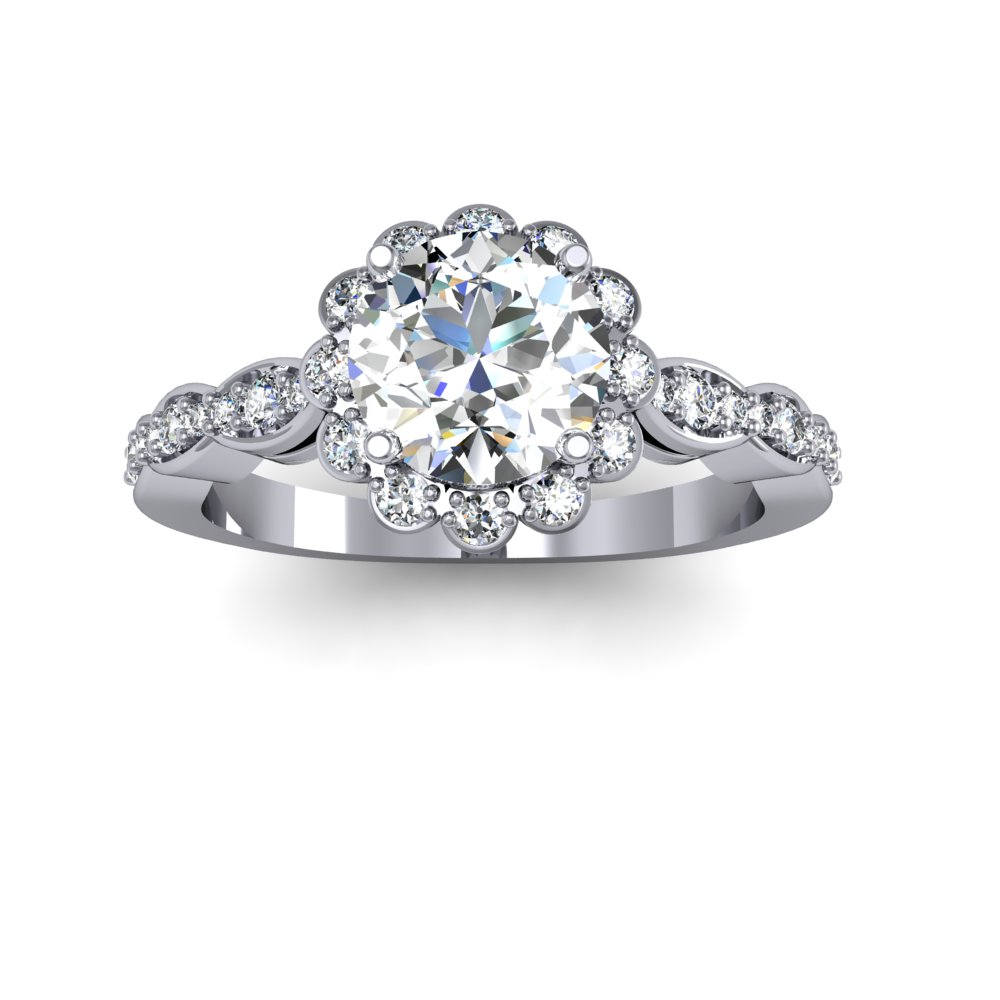 Decorative Cluster Curvilinear Diamond Engagement Ring