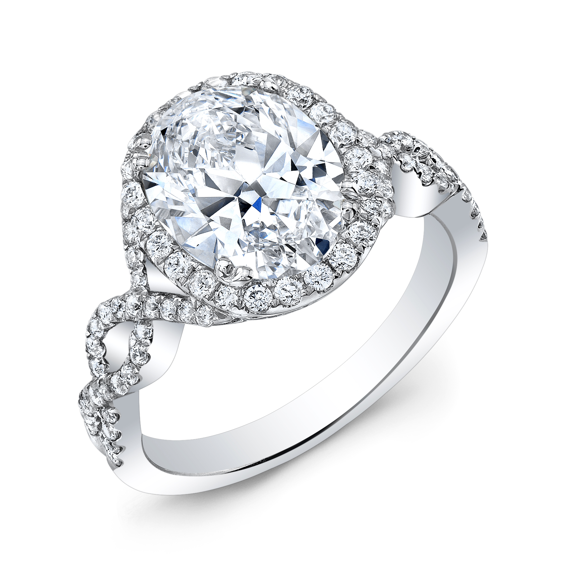 Halo Twisted Infinity Diamond Engagement Ring