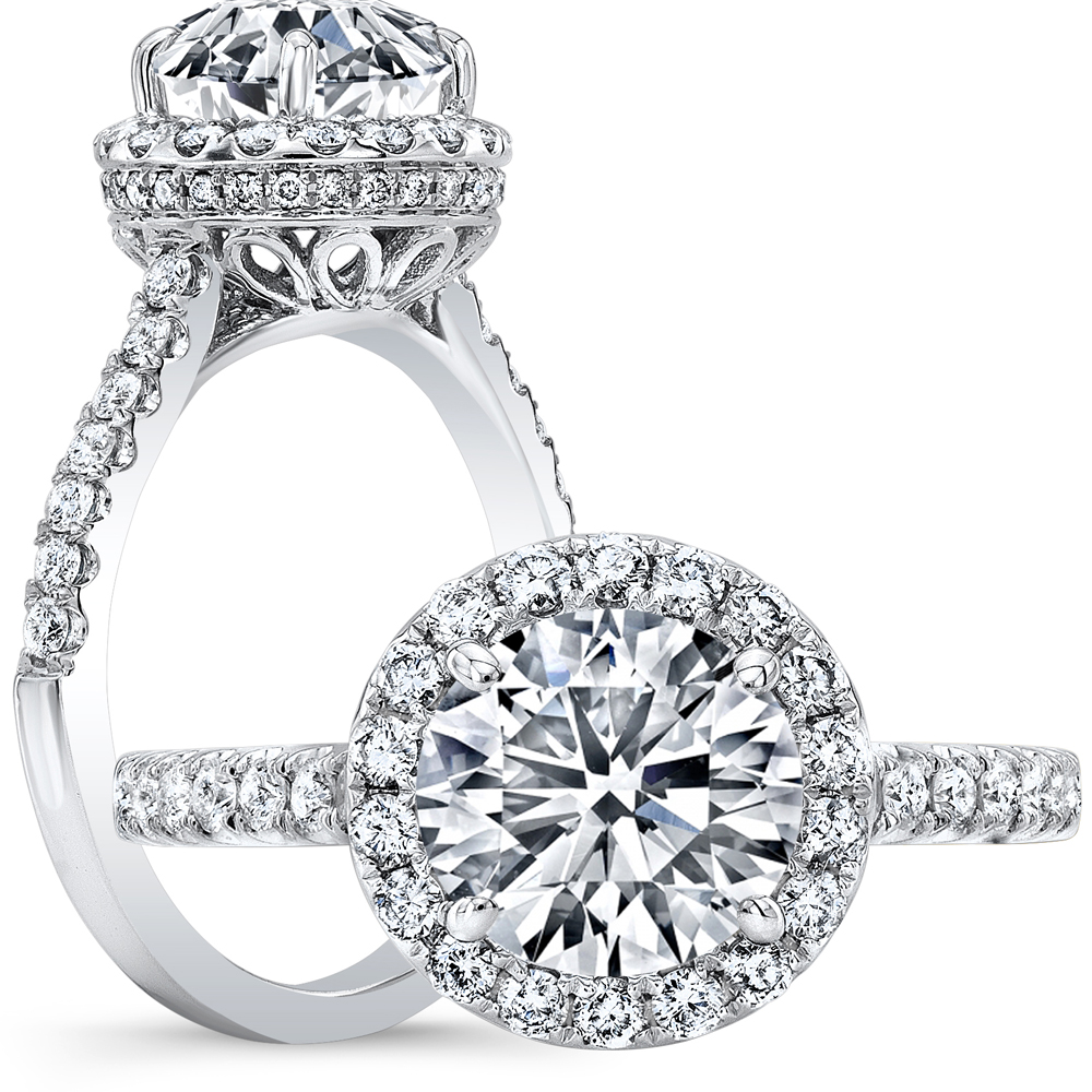 Halo Pave Vintage Style Diamond Engagement Ring