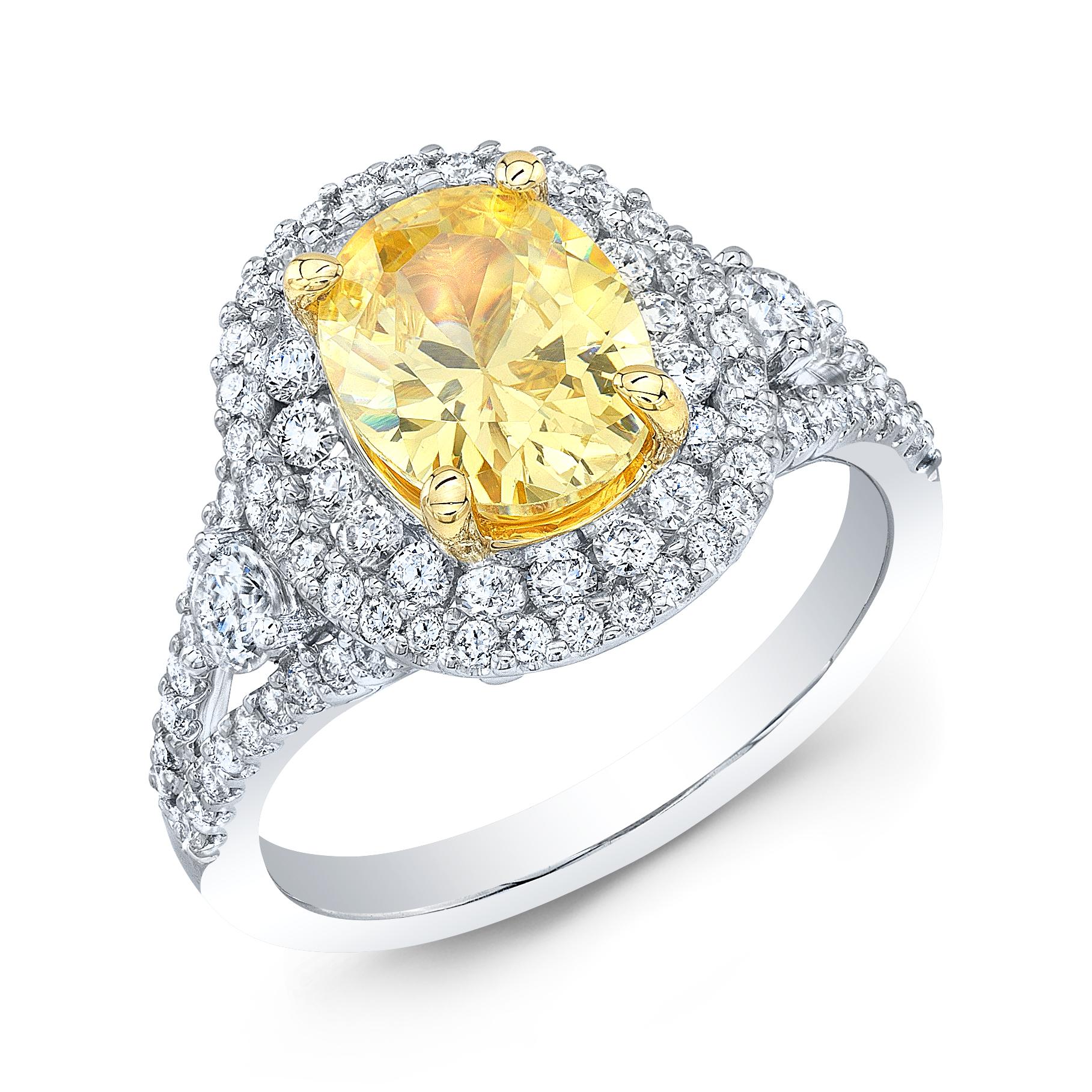 Double Halo Pave Split Shank Diamond Engagement Ring
