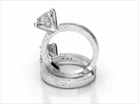 Hand Engraved Pave Diamond Engagement Ring