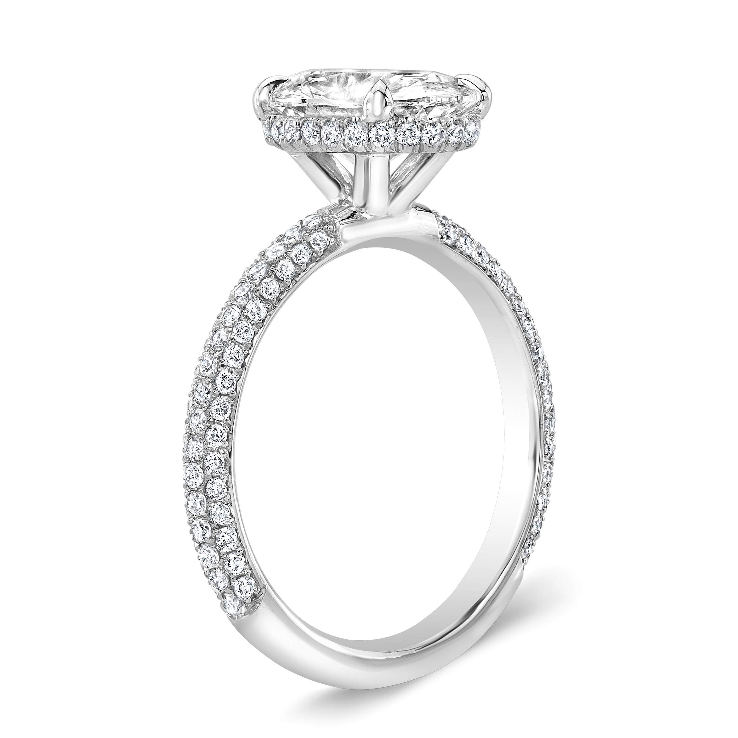 Natural Under Halo 3 Row Micro Pave Setting Diamond Engagement Ring