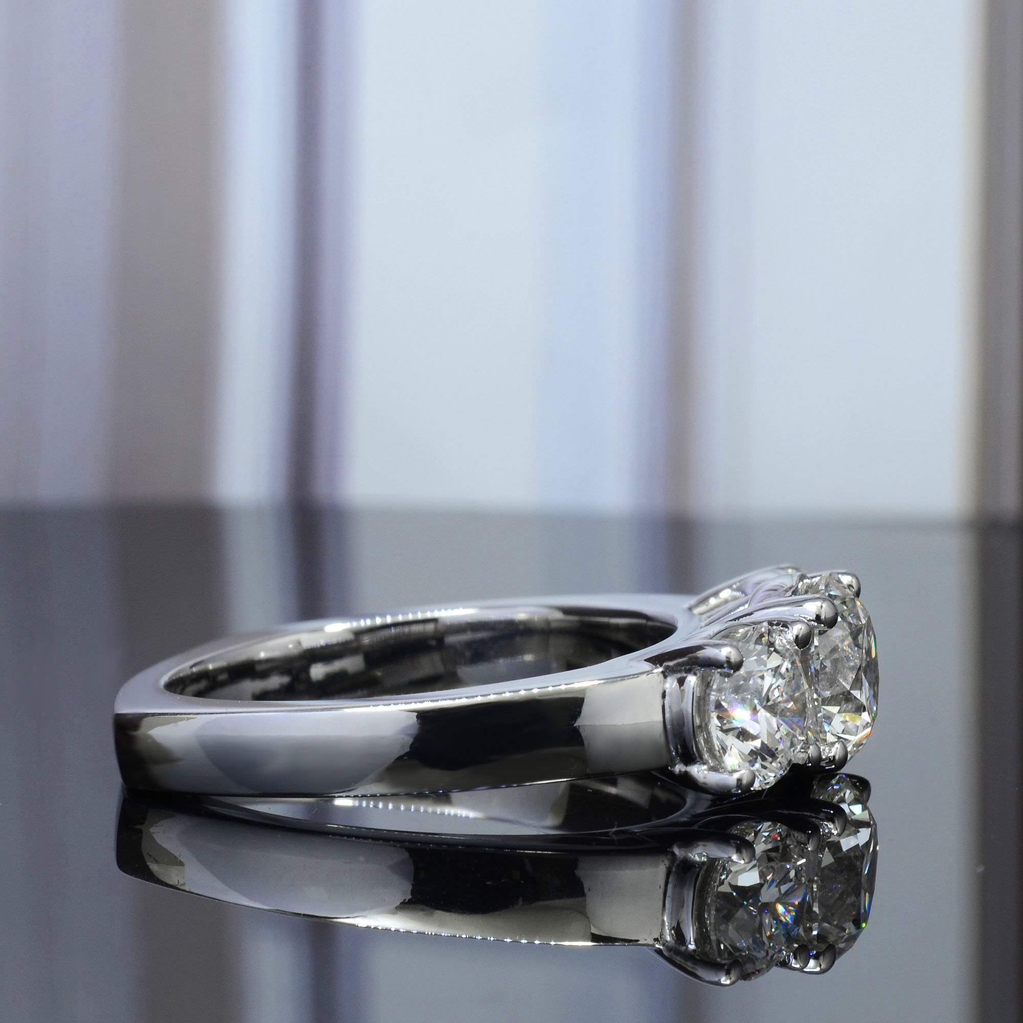 3 Stone Round Cut European Shank Engagement Ring