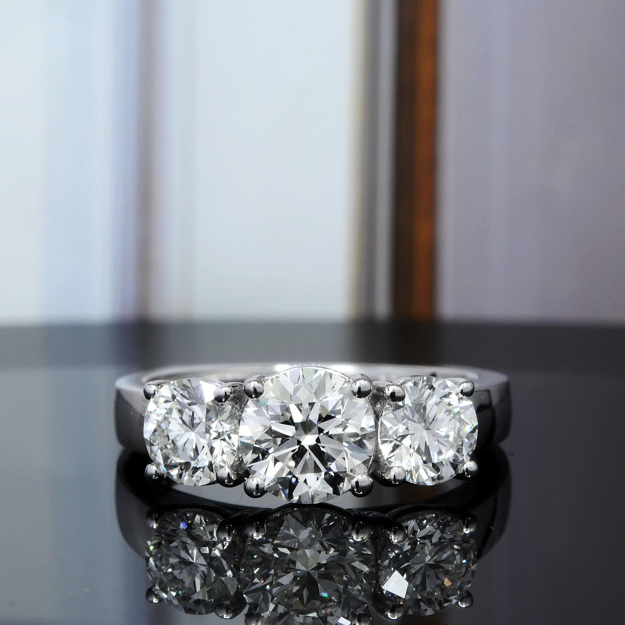 3 Stone Round Cut European Shank Engagement Ring