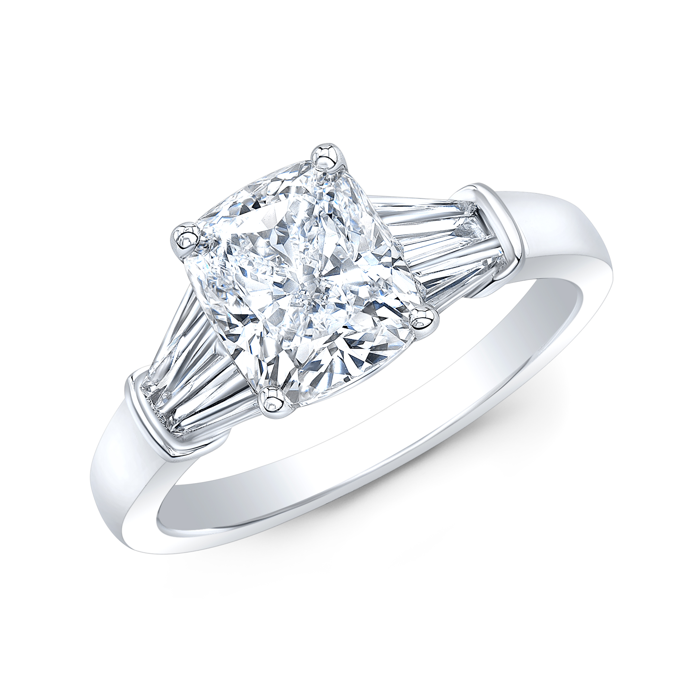Cushion & Custom Baguettes Diamond Engagement Ring
