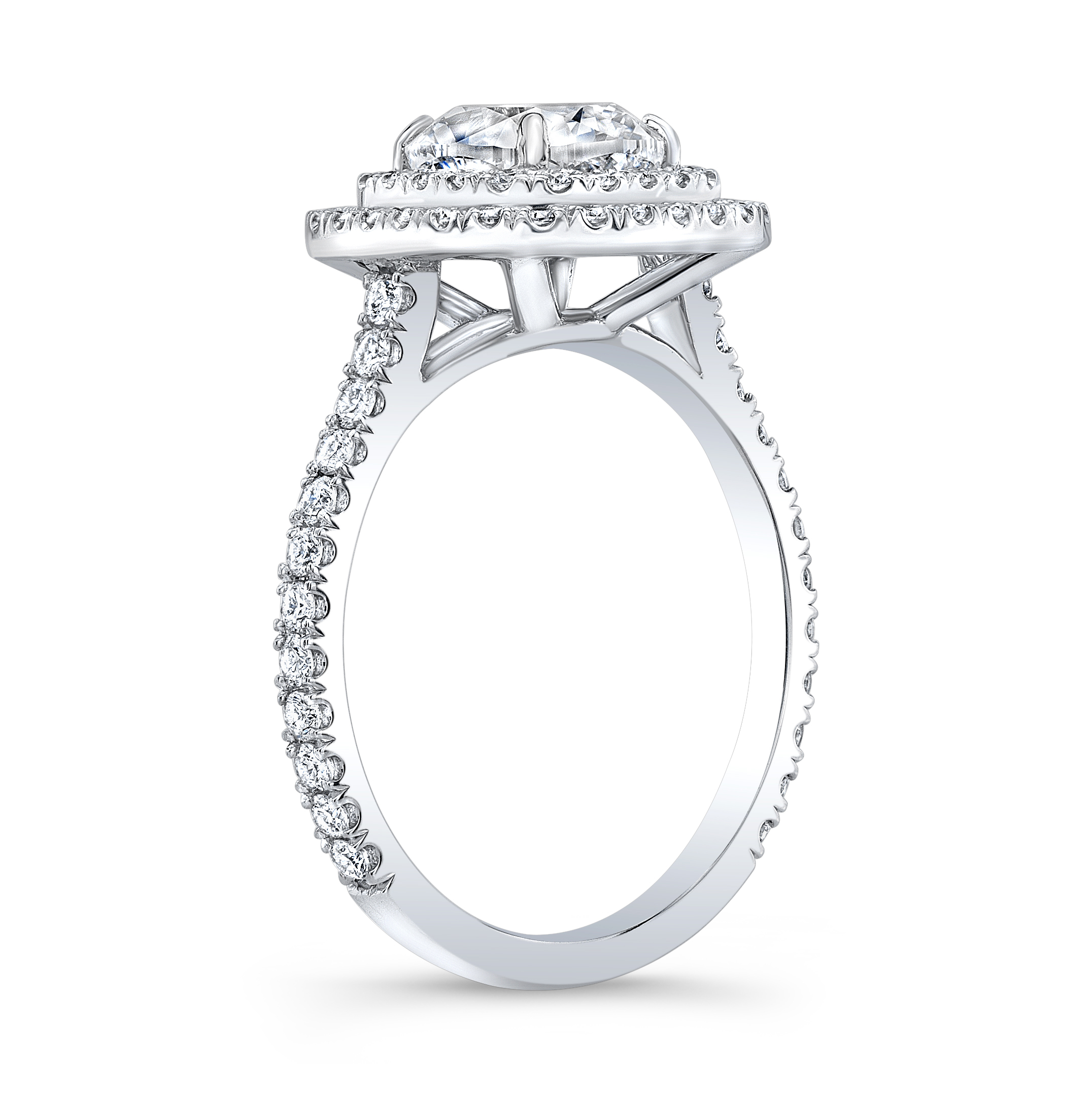 Natural Double Halo Pave Diamond Engagement Ring