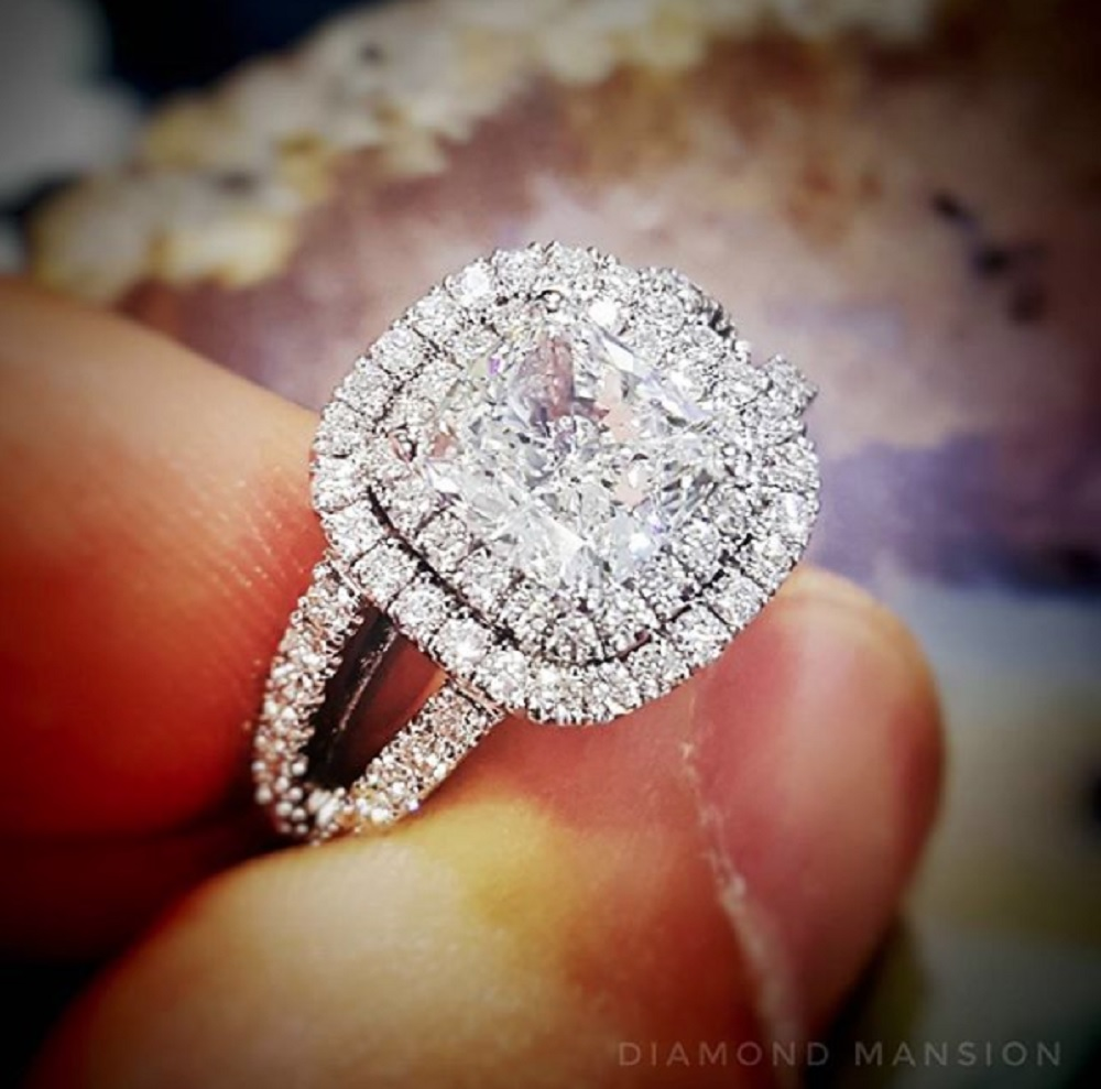 Double Halo Pave Split Shank Engagement Ring