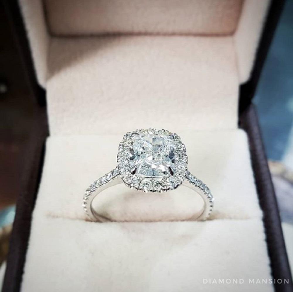 Thin Halo Pave Diamond Engagement Ring