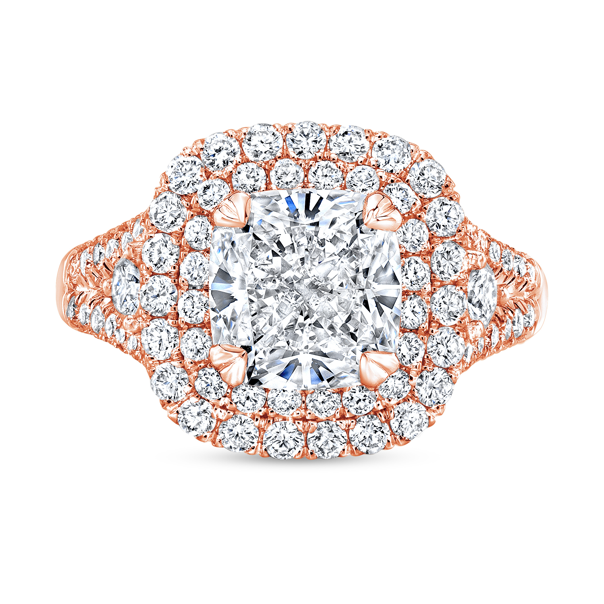 Double Halo Split Shank Micro Pave Diamond Engagement Ring in rose gold