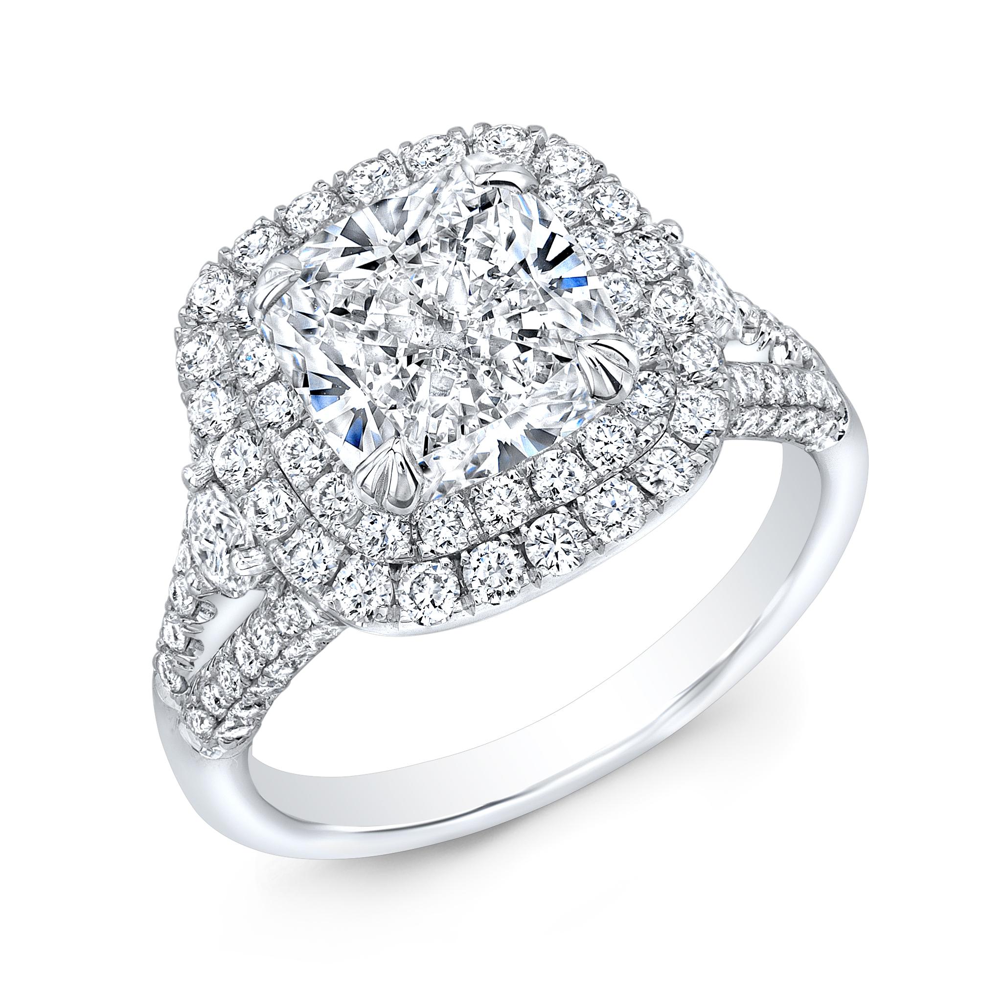 Double Halo Split Shank Micro Pave Diamond Engagement Ring