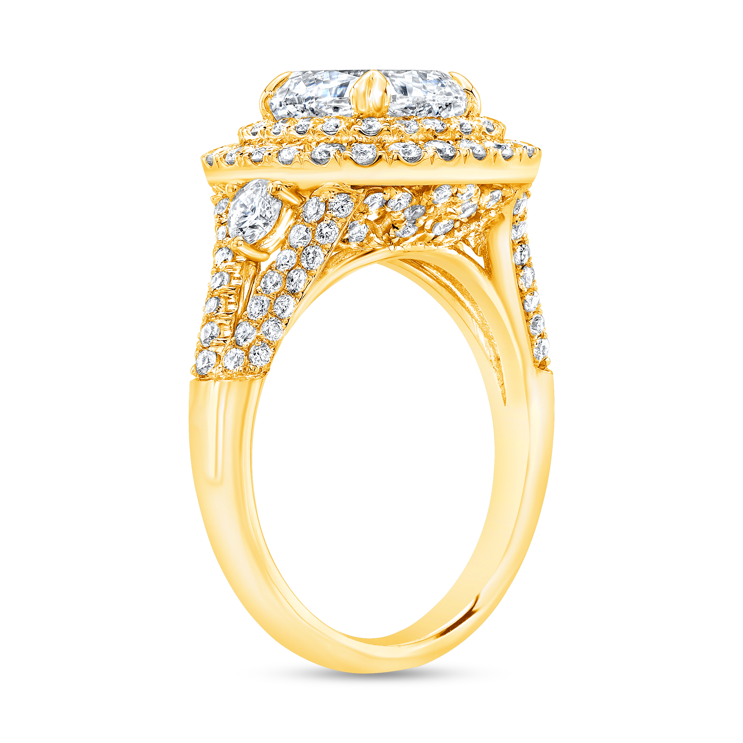 Double Halo Split Shank Micro Pave Diamond Engagement Ring in yellow gold