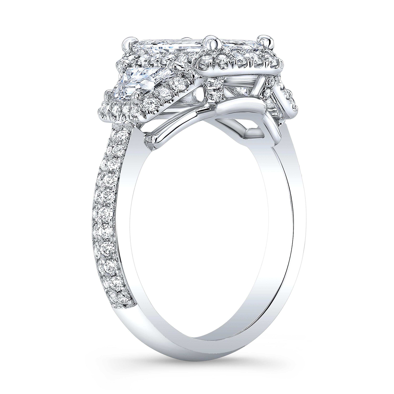 Emerald Halo 3 Stone Trapezoid 2-Row Pave Diamond Ring
