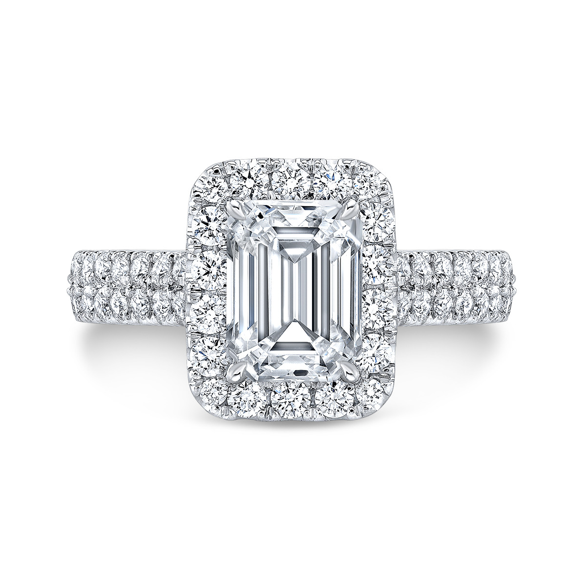 Double Row Pave Halo Natural Diamonds Engagement Ring