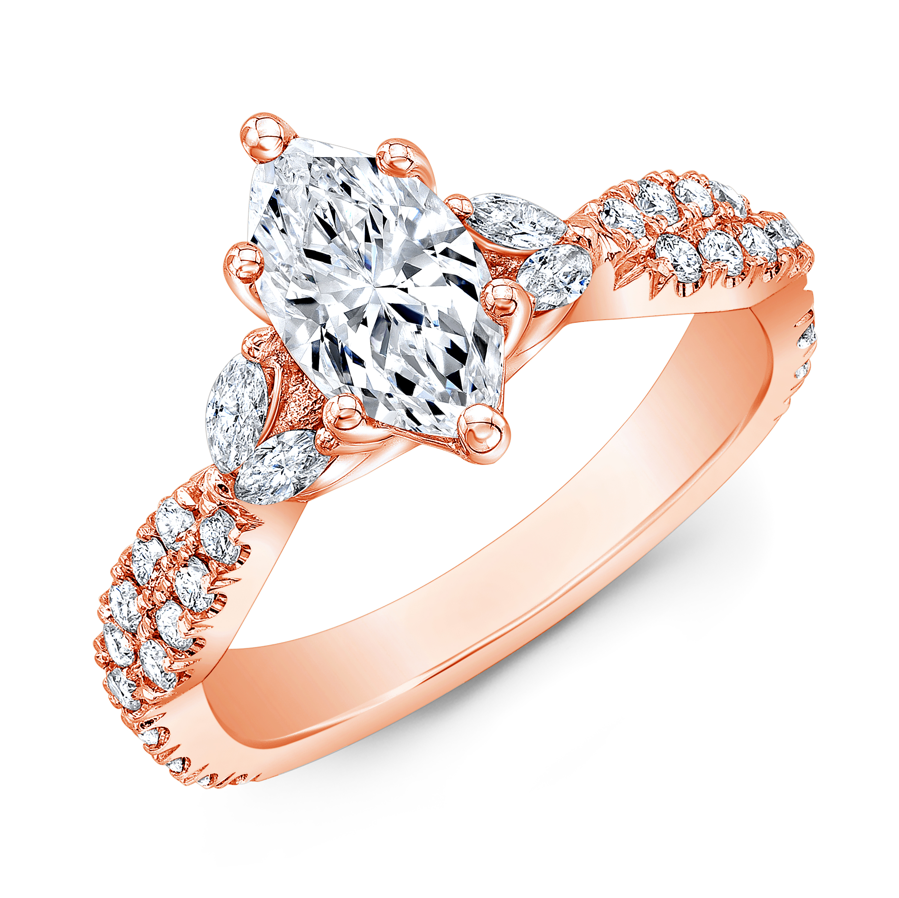Unique Marquise Diamond Engagement Ring In Rose Gold